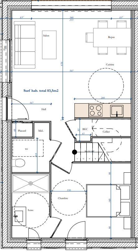 Plan des villas le clos du puits for Plan maison type f4